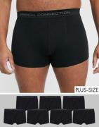 French Connection Plus – 7-pack svarta boxershorts