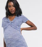 Mamalicious – T-shirt med amningsfunktion och snurrad knut framtill-Bl...